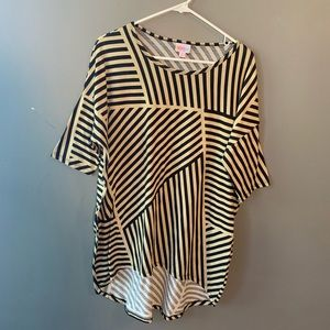 LulaRoe Irma Tunic Tan Black Stripes